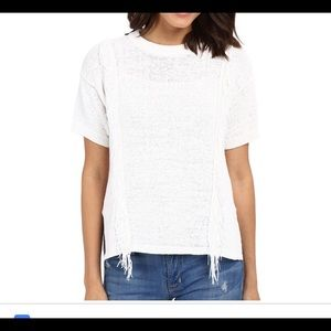 Michael Kors Fringe Trim Short Sleeve Sweater